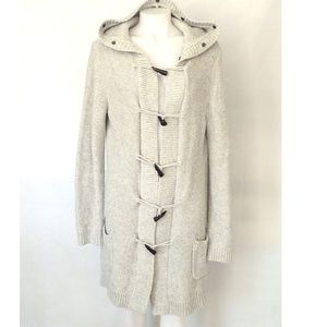 Long Cozy Hooded Heather Duffle Cardigan